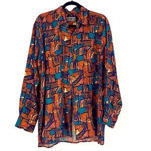 Robert stock vintage silk men's dress shirt 90s M